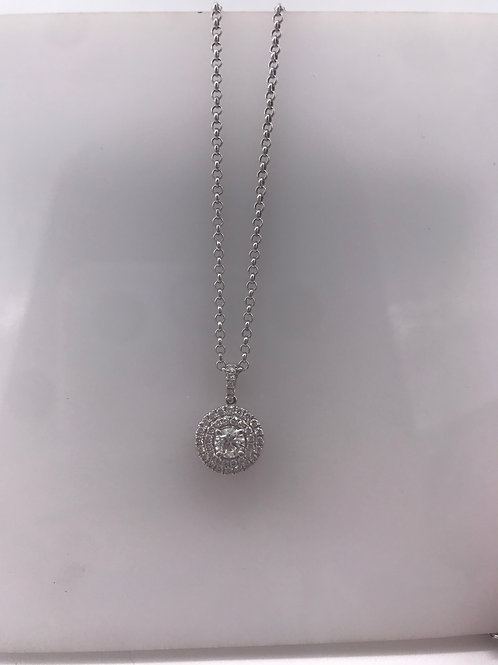 White Gold Circle Diamond Semi Pendant
