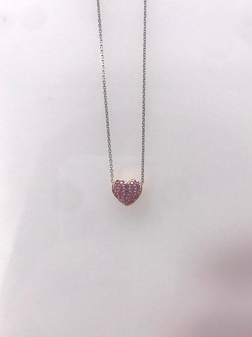 White Gold Pink Sapphire Pave Heart Diamond