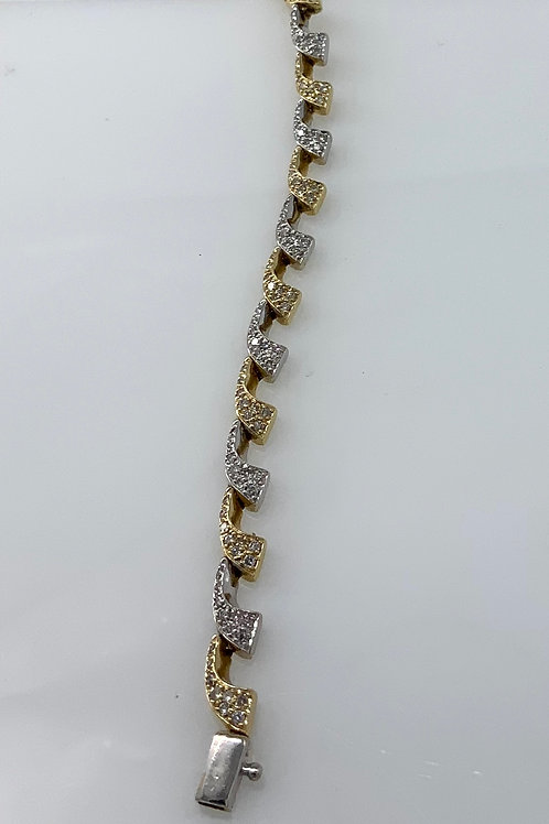 "7"" Two Tone Gold Diamond Bracelet"