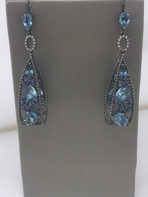 Large Dangle Antique Blue Topaz Diamond Earring