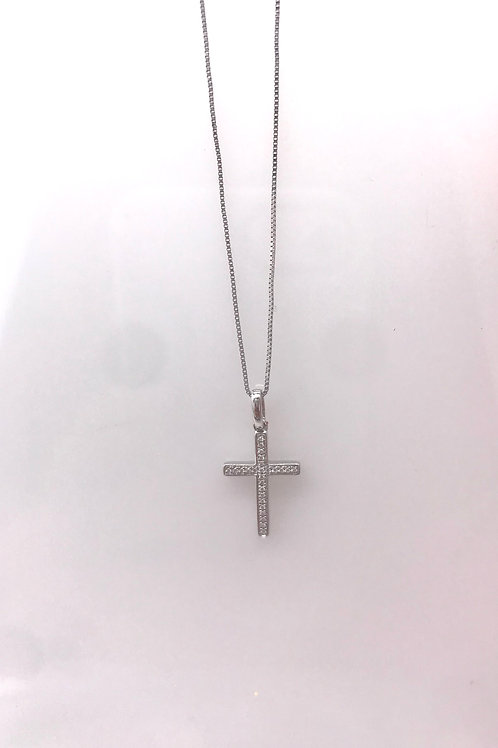 Small White Gold Diamond Cross