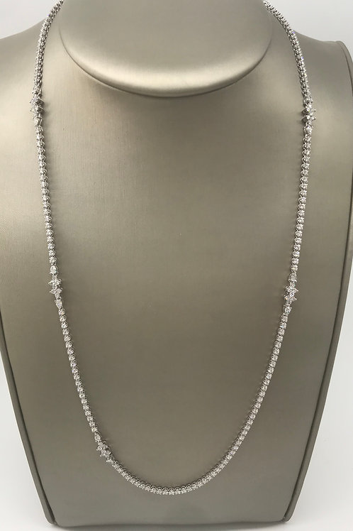 "32"" White Gold All Diamond Necklace with 6 Sections"