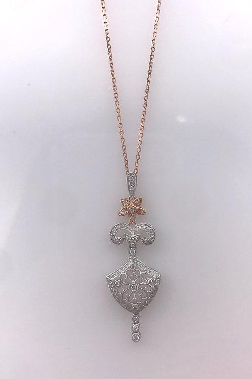 Filigree Pink White Diamond Necklace