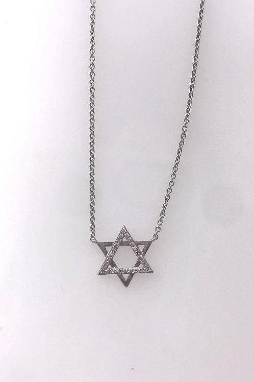 White Gold Diamond Star of David Necklace