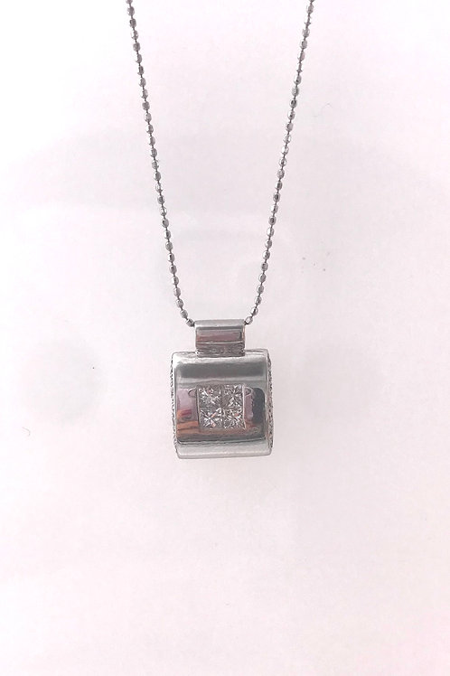 White Gold Princess Cut and Round Diamond Tube Square Necklace