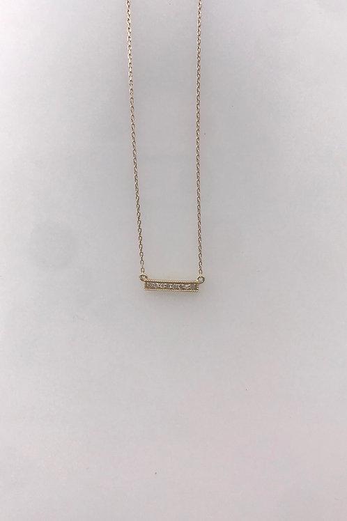 Small Yellow Gold Diamond Bar Necklace