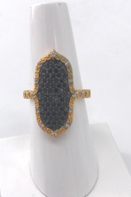 Freida Rothman Sterling Silver Black Pave Yellow Point Ring