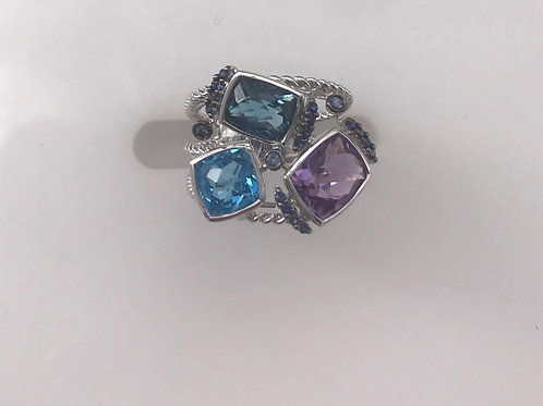 Amethyst Blue Topaz Diamond 3 Stone Ring