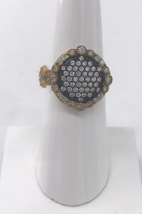 Freida Rothman Sterling Silver Round Black and Yellow Ring