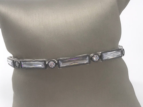 Freida Rothman Sterling Silver Thin Baguette Bar Eternity Hinge Bracelet