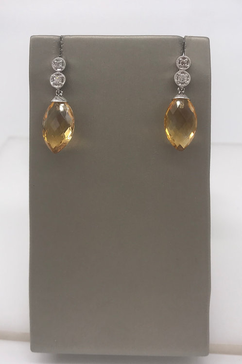 Citrine Drop Diamond Earring