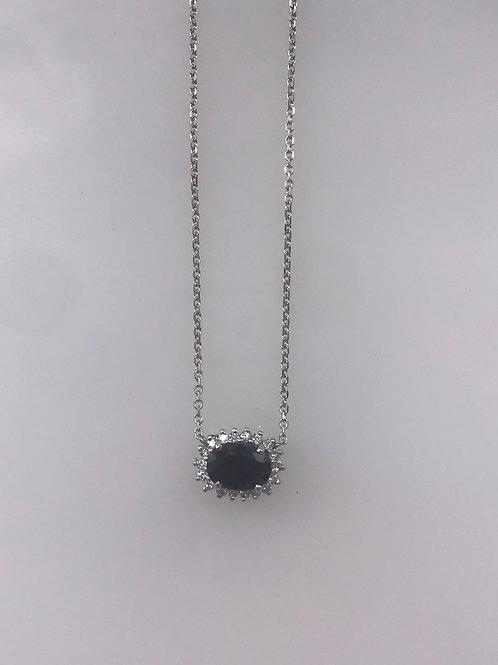 White Gold Sapphire Diamond Halo Necklace