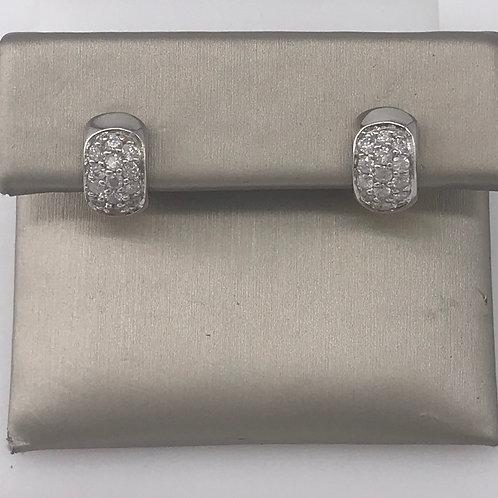 Two Tone Diamond Huggie Earrings