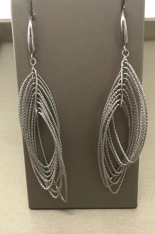 Multi Diamond Row Dangle Earring
