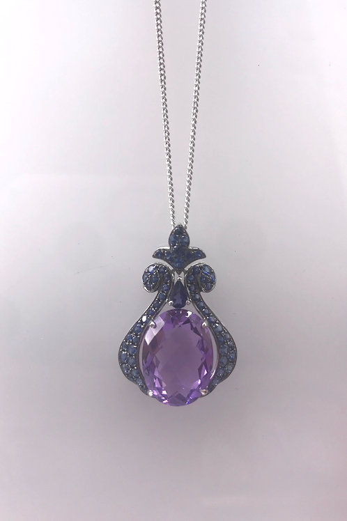 Amethyst and Blue Sapphire White Gold Pendant