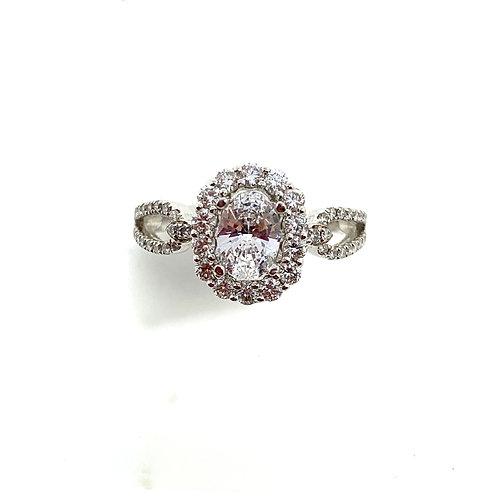 Oval halo split engagement ring