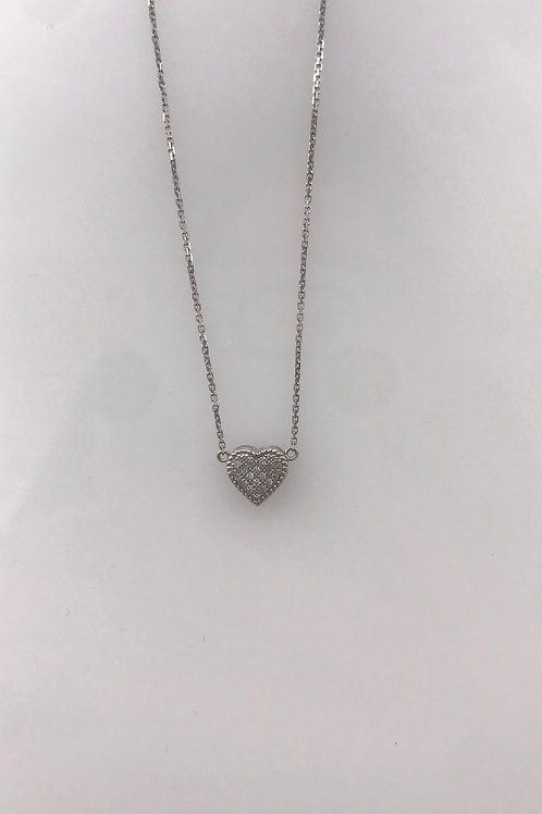 Tiny Pave Diamond Heart Necklace on White Gold Chain
