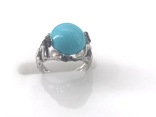Turquoise Blue Sapphire Scroll Ring