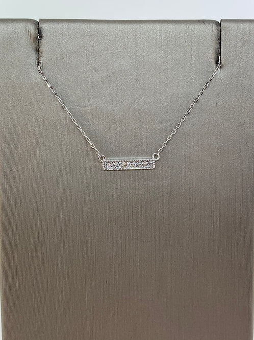 Small White Gold Diamond Bar Necklace