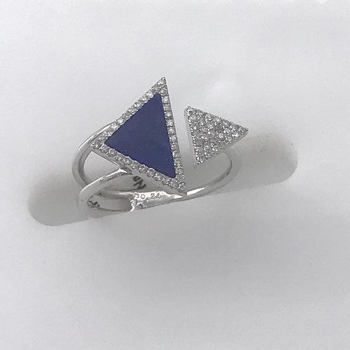White Gold Double Tri Lapis Diamond Ring