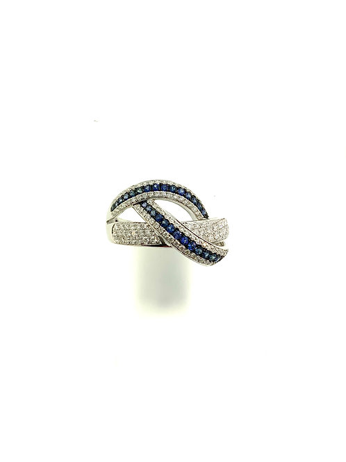 Sapphire & diamond knot ring