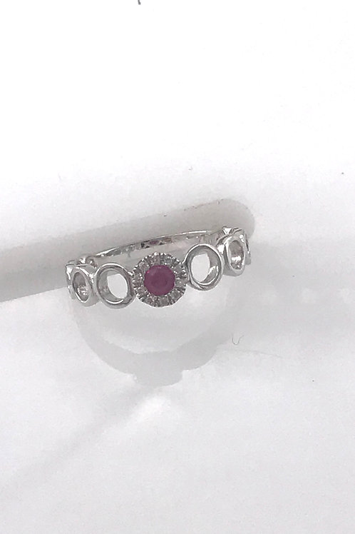 Circle Ruby Diamond Ring