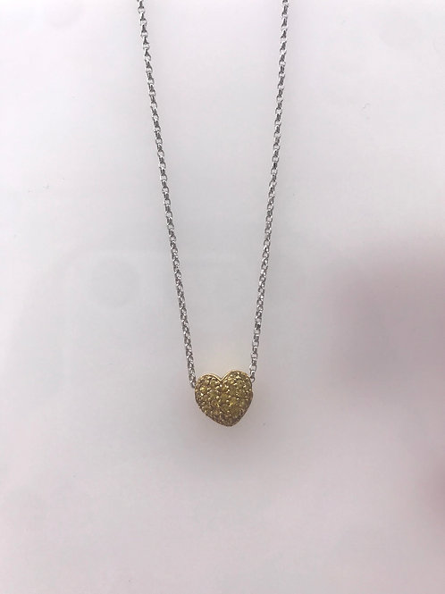 White Gold Pave Yellow Sapphire Heart