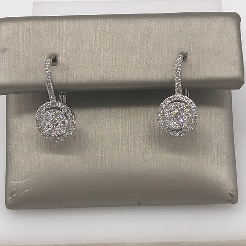 Diamond Halo Earring with Lever
