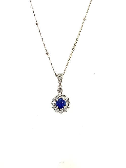 Sapphire diamond halo pendant