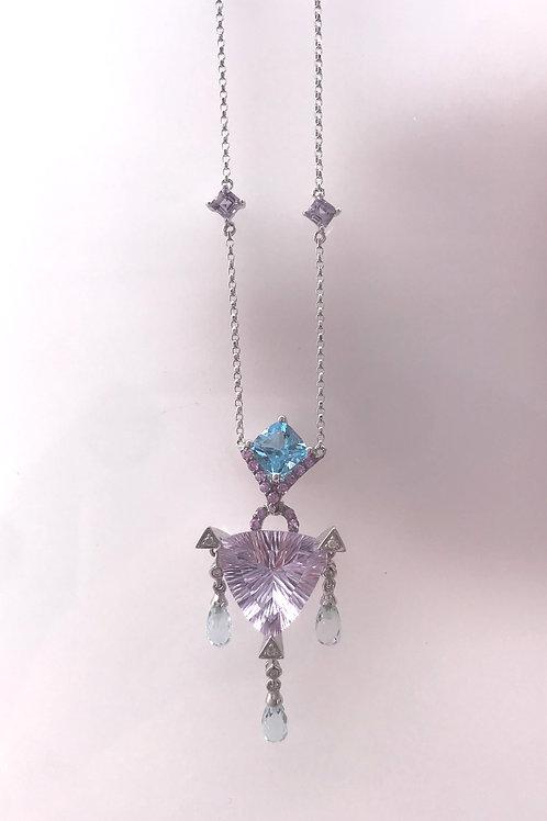 Amethyst Fancy Cut Blue Topaz Dangle Necklace