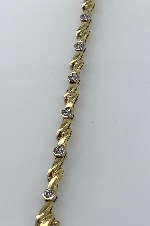 "7"" Two Tone Bezel Diamond Bracelet"