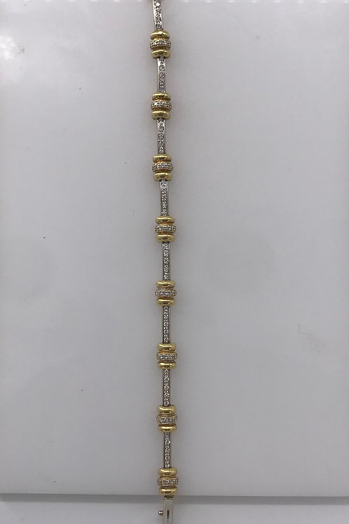 "7"" Two Tone Diamond Bracelet"