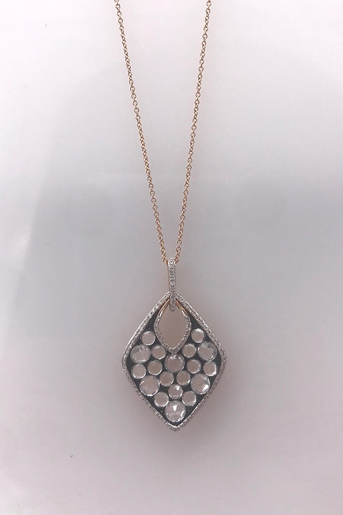 White Topaz Diamond Wave Necklace