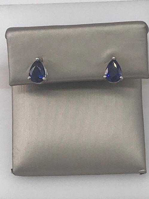 Pear Shaped Blue Sapphire Stud