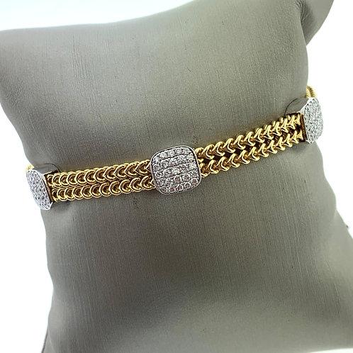 2 Line Pave Section Diamond Bracelet