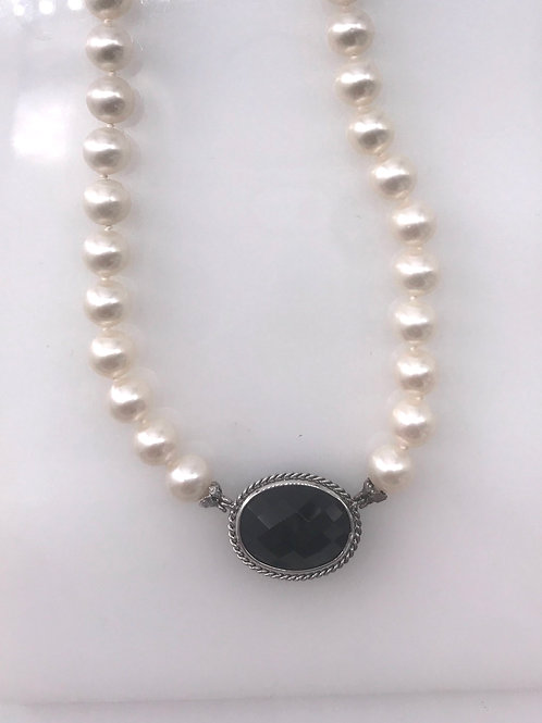 Black Onyx and Pearl Sterling Silver Necklace