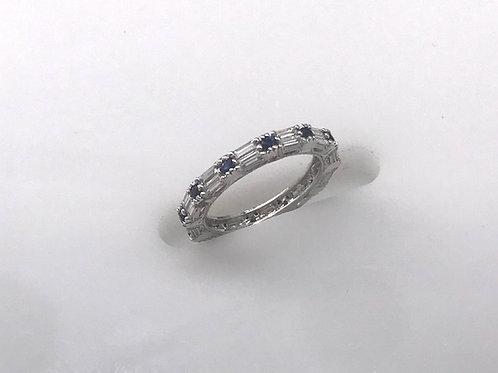 White Gold Sapphire Diamond Eternity Stack