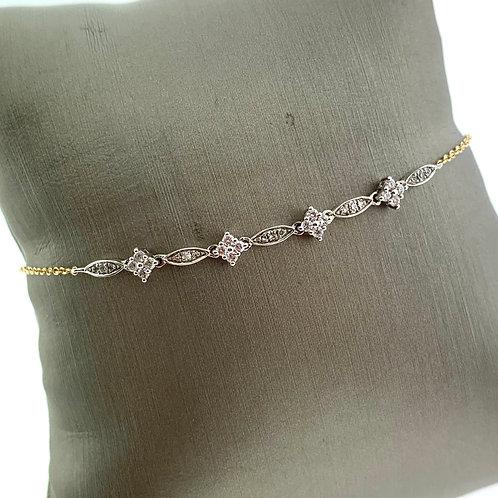 Yellow Gold Thin Diamond Chain Bracelet