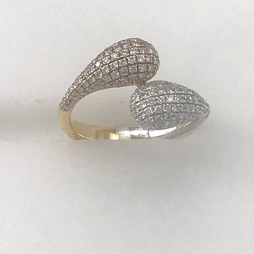 Two Tone Pave Split Drop Ring
