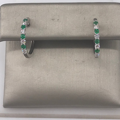 Emerald and Diamond Prong Set Hoop Earring