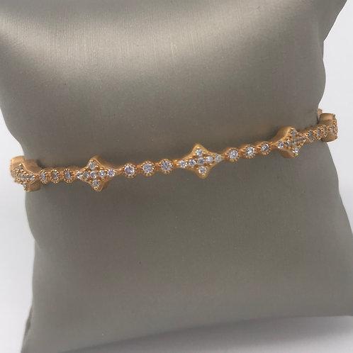 Freida Rothman 14K Gold Plated Thin Star Bangle