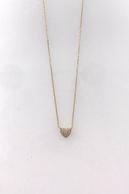 Yellow Gold Pave Diamond Heart Necklace