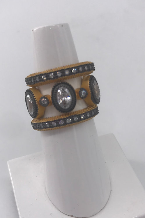 Freida Rothman Sterling Silver 3 Ring Yellow Stacker