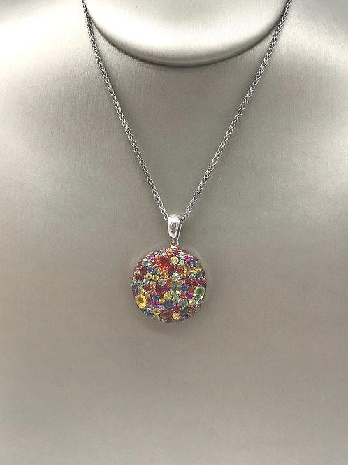 Circle Multi Pink Sapphire Sterling Silver Pendant