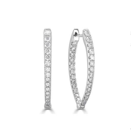 In/out pointed oval diamond hoop earring