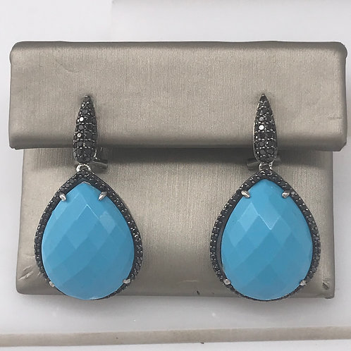 Turquoise Pear Drop with Black Diamond Earring
