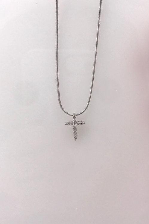 Tiny White Gold Diamond Cross