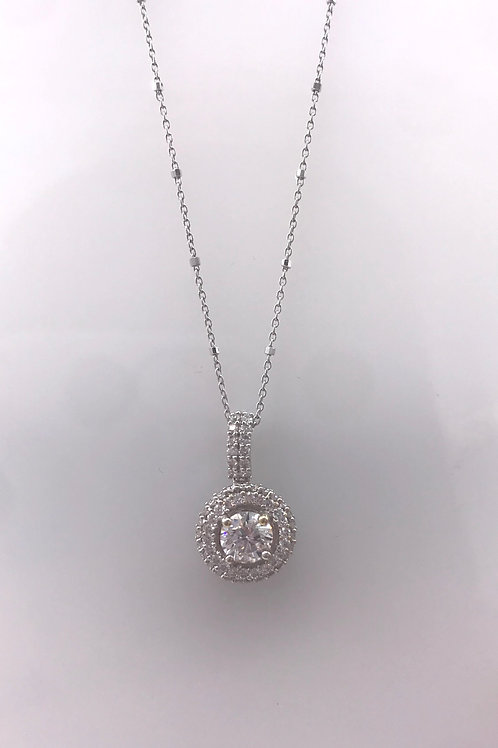 Small Pave Diamond Circle Pendant