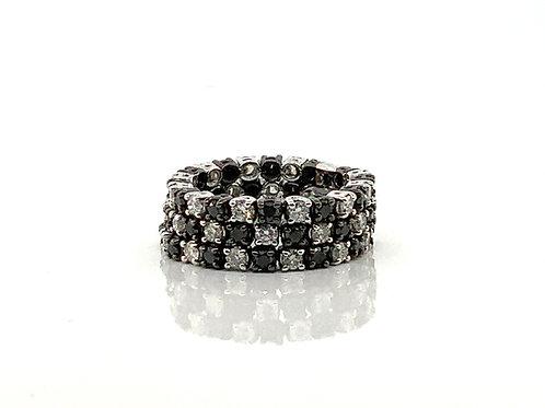 B & W three row diamond ring flexible
