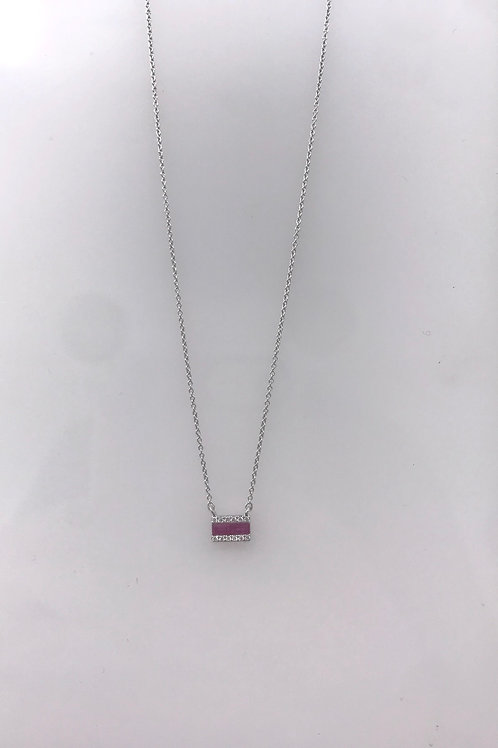 White Gold Ruby Diamond Bar Necklace